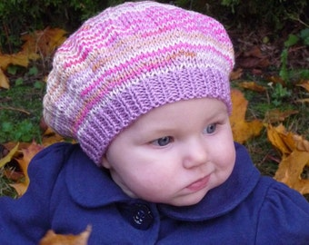 BABY GIRL Beret - up to 6 months size (patterned baby bamboo yarn in pastel shades with a pale purple brim)