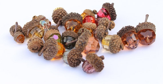22 Beaded Acorns - Fall Decorations - Bowl Fillers