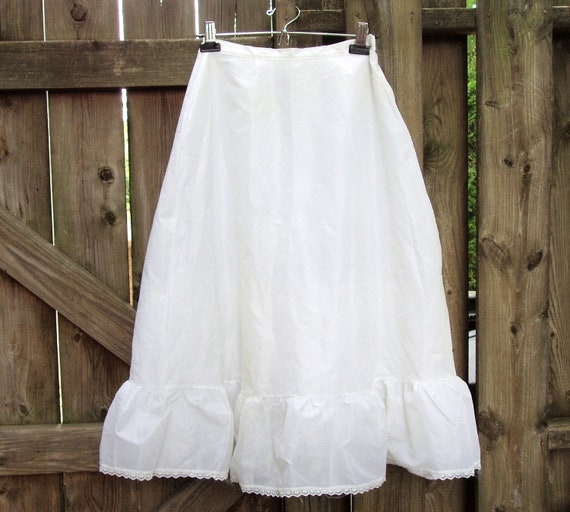 Vintage Crinolines, Set of Two Extra Small Wedding Crinolines Petticoats Slips, White with Lace Trim and Tulle