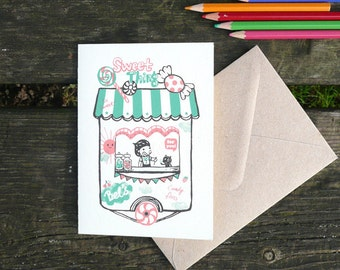 Retro Sweet shop - hand printed greeting card