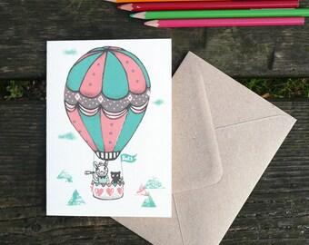 Hot air balloon- hand printed greeting card