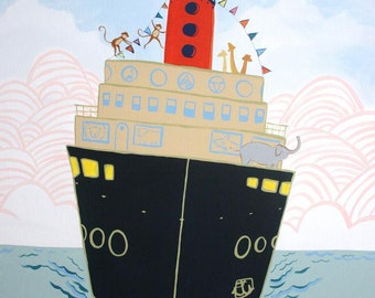 Harbor Zoo - NEW Hawk Art- PRINT 11x13 from original, boat, dock, zoo, baby and kids decor, steam boat, ocean, housewares