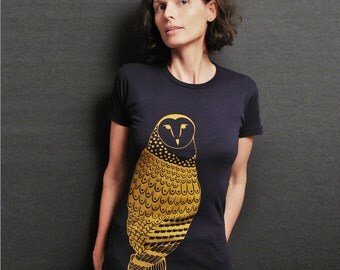 Graphic Tee for Women -  Gold Owl Navy T Shirt - Feather Bird Shirt Print - Woodland Animal Bird