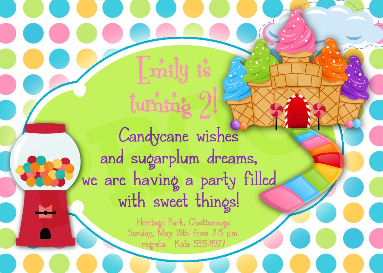 Printable Candyland Birthday Printable Invitation Girl party