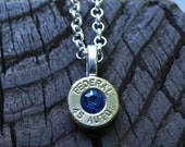 Bullet necklace..... Silver necklace Federal .45 Auto pendant necklace crystal necklace with a Swarovski crystals Sapphire crystal