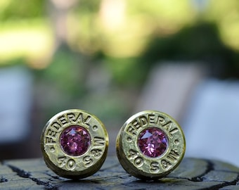 Bullet Earrings stud or post, brass/gold Federal .40 S&W with Swarovski crystals