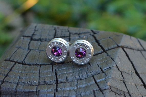 Bullet Earrings stud or post, nickel silver Speer .357 Sig Handcrafted with Swarovski crystals