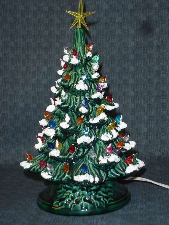 Green Glazed Ceramic Christmas Tree 13 Inch By Kraftylady20