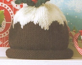 Hand Knitted Cashmere and Wool Christmas Pudding Baby Hat 3-6 months