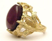 Handmade 14kt Gold Ruby Cab Claw Ring