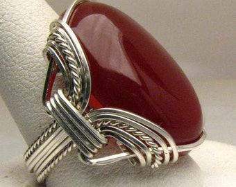 Handmade Sterling Silver Wire Wrapped Vintage Carnelian Ring