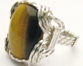 Handmade Sterling Silver Wire Wrap Cats Eye Ring