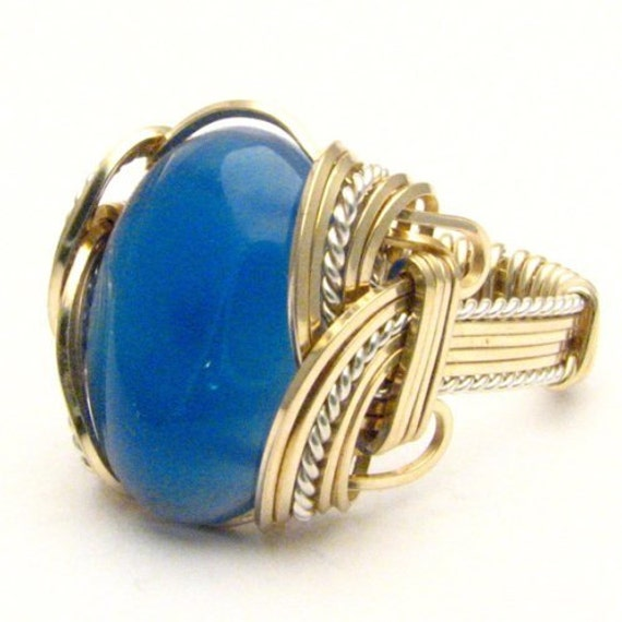 Handmade Wire Wrap Two Tone Sterling Silver/14kt Gold Filled Blue Onyx Ring