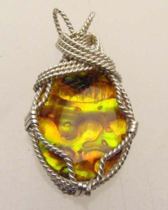 Handmade Solid Sterling Silver Wire Wrap Gold Paua Shell Pendant