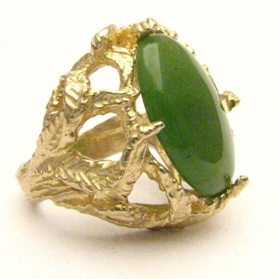 Handmade 14kt Gold Green Jade Claw Ring