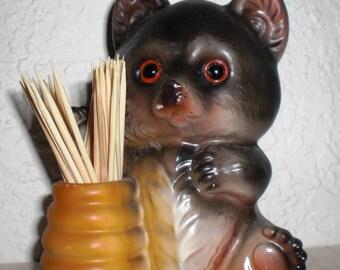 Bear with Honey Pot Toothpick Holder