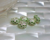 5pcs Bright Green Cubic Zirconia Silver plated Large Hole Rondelle Beads Brass Textured Findings Jewelry Jewellery Craft Supplies