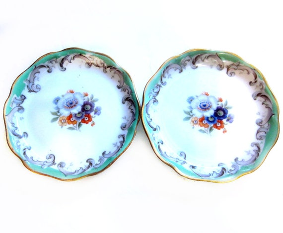 Vintage Bavaria Porcelain Trinket Dishes, Miniature Plates