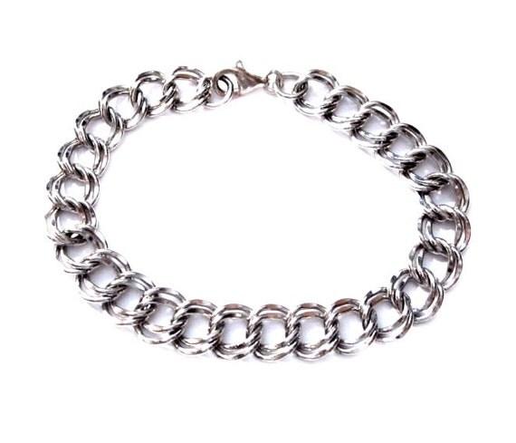 Double Link Silver Starter Charm Bracelet Chain