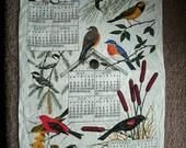 1974 Linen Tea Towel Calendar Birds and Botanicals