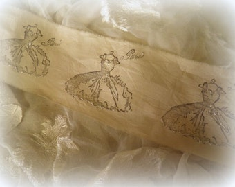 La Petite Dress - Paris Dress Distressed Hand Stamped German Glass Glitter Embellishment