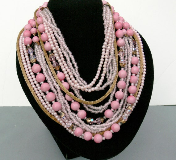 Vintage Pink Beaded Multi Strand Necklace