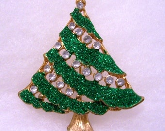 Vintage Glitter and Rhinestone Christmas Tree Brooch