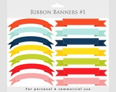 Banner clipart, stitched ribbon flags, digital ribbon clip art, tags, colorful, graphics for personal commercial use