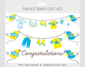 Baby shower clipart, blue yellow baby clip art, pregnancy clip art, nursery clipart, sweet, birds, baby clothes, clothesline