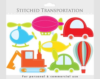 Transportation clipart, stitched - colored fabric cars, hot air balloon, helicopter, truck, plane, blimp for personal and commercial use