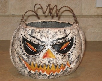 Paper mache Lg White Pumpkin Basket