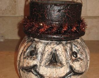 Paper mache Pumpkin Basket w/Top Hat