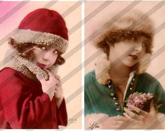 Digital Collage Sheet Christmas GIrls Postcard Images (Sheet no. O197) Instant Download
