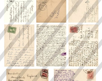 Digital Collage Sheet  Postcards (Sheet no. O199) 2.5 X 3.5 inches Background Images-Instant Download