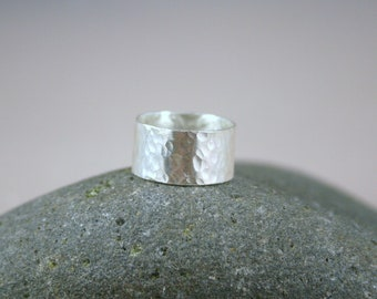 "Hammered Ring, 3/8"" wide in Fine Silver, Hammered Band, Wide Silver Ring, wide Hammered Band, Wide Hammered Ring"