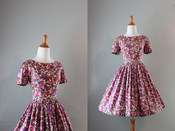 Vintage 50s Dress / 1950s Floral Garden Party Dress / 50s Cotton Full Skirt Dress