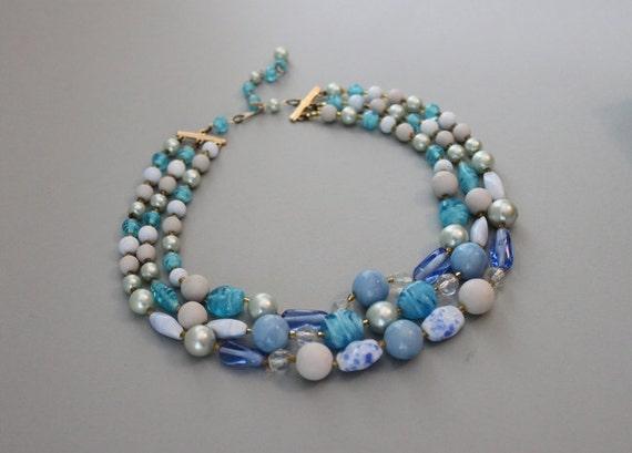 Vintage Necklace / 1960s Blue Glass Bead Necklace / 60s Multi Strand Necklace