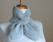 Silver Blue Knit Scarf, Knitted Keyhole Scarf, Knitted Scarf, Women Scarf,Bow Scarf Neckwarmer, Original Stay Put Scarf, Pull Through Scarf