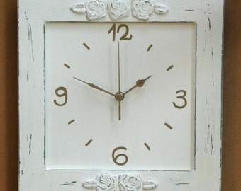 Cream Shabby Chic wall Decor Wall Clock