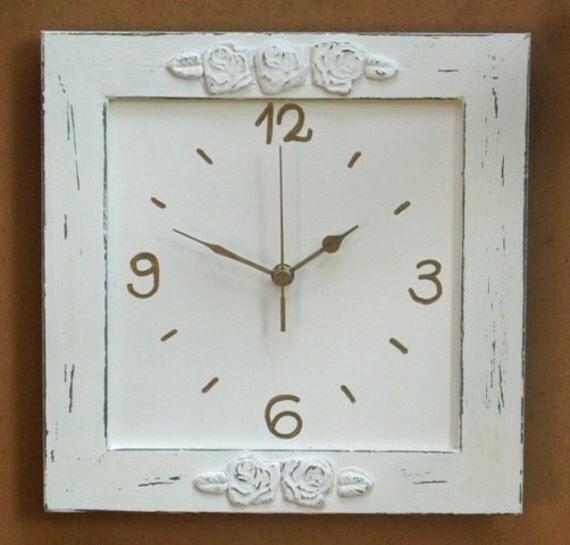 Cream shabby chic wall decor wall clock for Shabby chic wall art