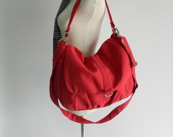 Red canvas Messenger bag, women Cross body diaper bag, zipper shoulder bag,  Handbag gift for mom - Sale Sale Sale  30% /DANIEL