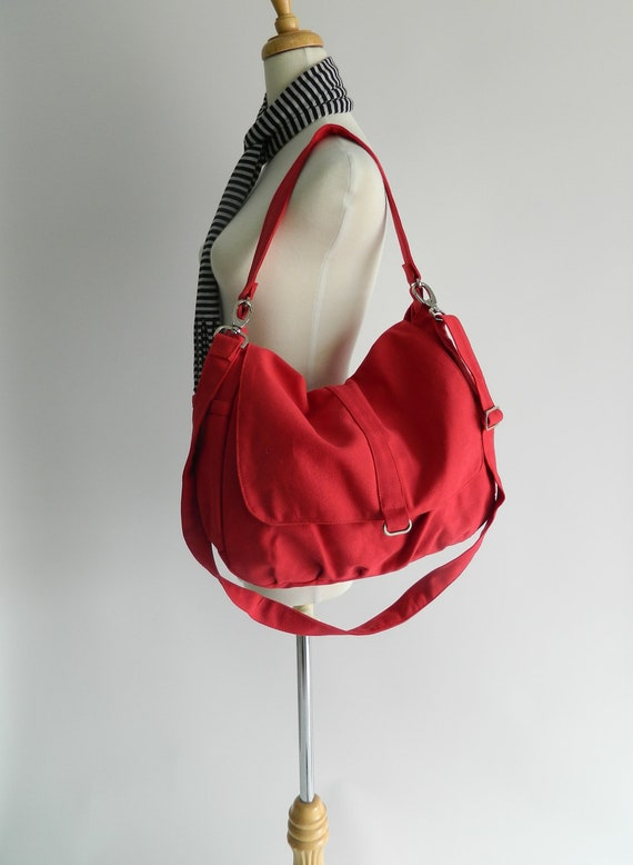 Red canvas school bag,Cross body satchel, women diaper bag, zipper shoulder bag,, Handbag for mom,Travel Messenger bag / SALE 25% - DANIEL
