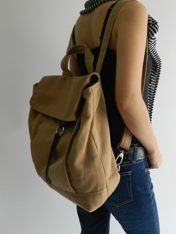 HAPPY NEW YEAR Sale - 25% off   // Tanya in Camel // Backpack / Satchel / Rucksack / Laptop / Tote / Women/ For Her / For Him