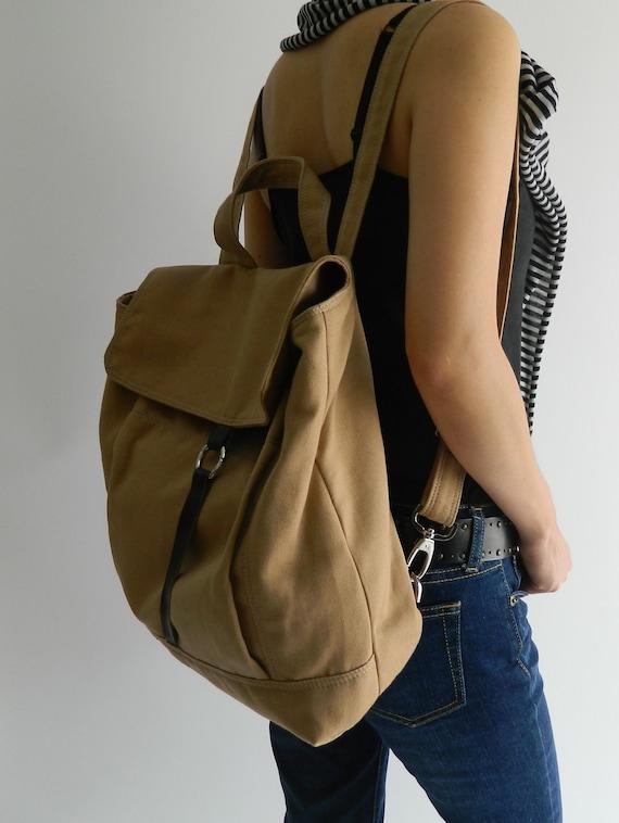 Sale Sale Sale 30% -Tanya in Camel Backpack /canvas backpack/ Satchel Rucksack / Laptop bag /Tote/Women/Unisex /School bag