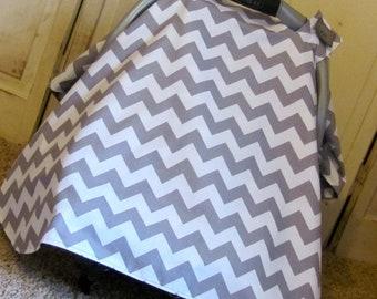 Car Seat Canopy-Grey Chevron Carseat Canopy