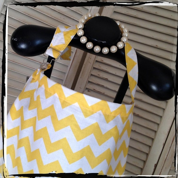 Nursing Cover - Yellow Chevron  HideAway Nursing Cover Up with OVERALL BUCKLE-Ready 2 Ship