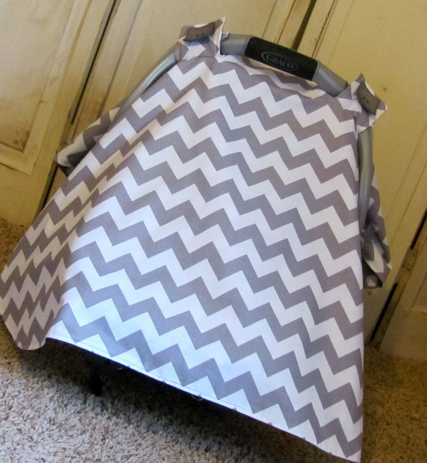 Car Seat Canopy Grey Chevron Carseat Canopy