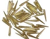 Mini Spike beads shiny gold color spikes 50pcs