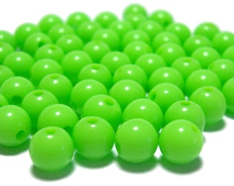6mm Smooth Round Acrylic Beads in lime green 100pcs