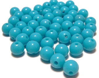 8mm Smooth Round Acrylic Beads in Light Turquoise 50 beads
